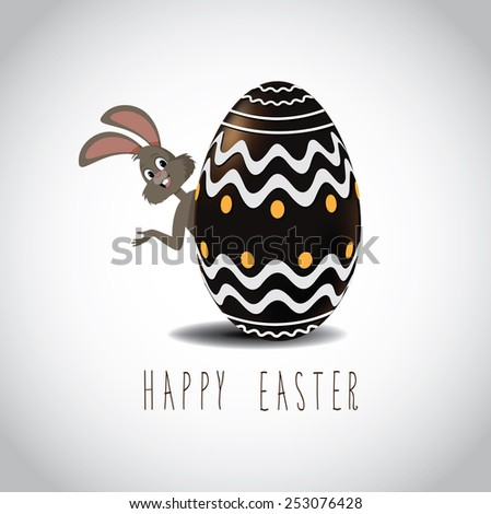 Easter bunny peeking from behind chocolate Easter egg with fancy designs. EPS 10 Vector royalty free stock illustration for greeting card, marketing, poster, design, blog, invitation, social media - stock vector
