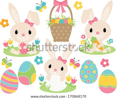 Easter Bunny (Pink) - stock vector