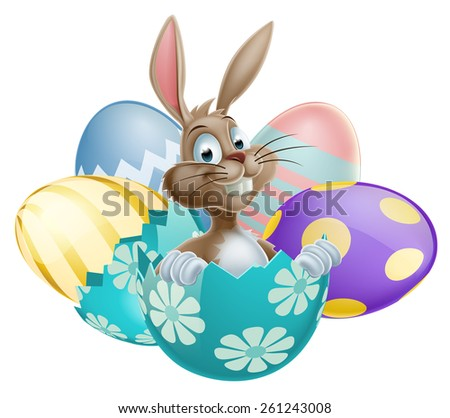 Easter Bunny rabbit with chocolate Easter Eggs - stock vector