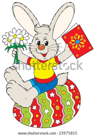 Easter Bunny sits on the painted egg - stock vector