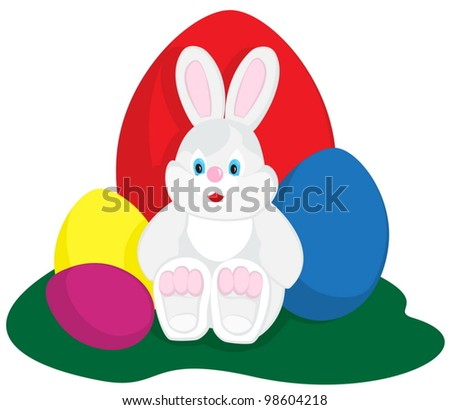 Easter bunny sitting with colored eggs on green - stock vector