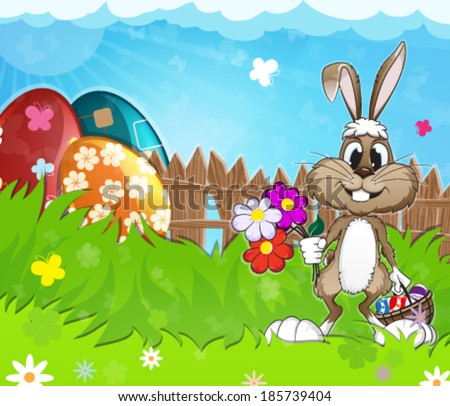 Easter bunny with  basket and flowers in the meadow - stock vector