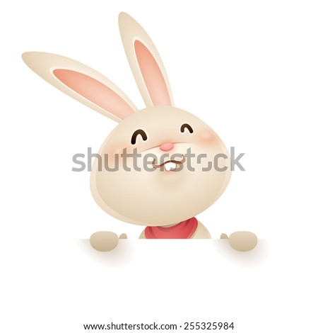 Easter bunny with big sign - stock vector