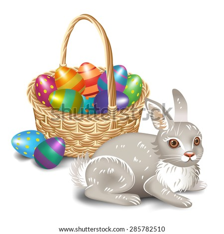 Easter bunny with Easter basket  - stock vector