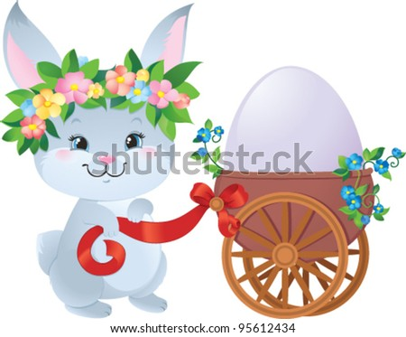 Easter Bunny with egg in a small cart - stock vector