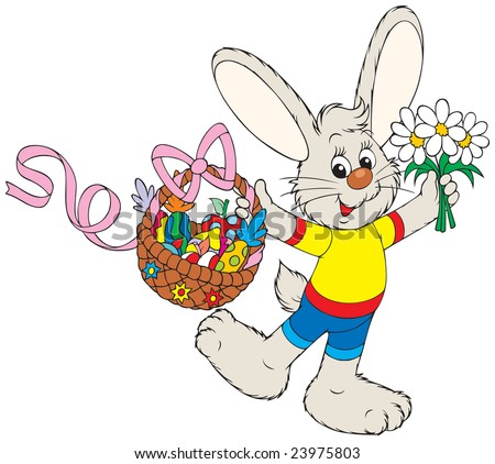 Easter Bunny with the fruits basket and flowers - stock vector