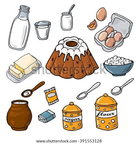 Ingredients Baking Flour Eggs Yeast Milk Stock Vector