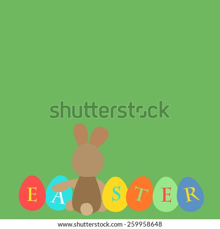 Easter card background with easter eggs and easter bunny. Vector illustration. - stock vector