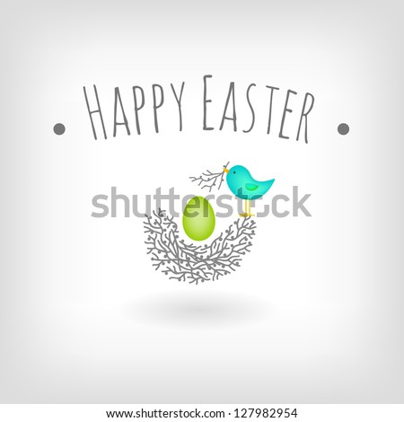 Easter card, bird nest and egg vector graphic design - stock vector