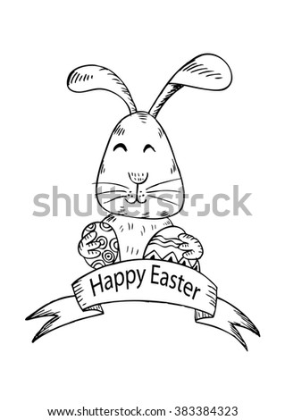 Easter card. Hand drawing illustration.
