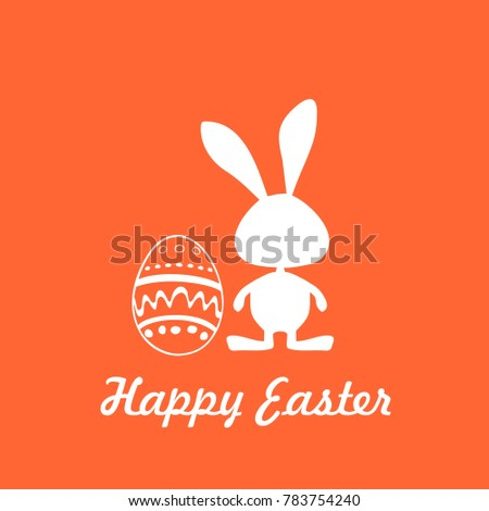 Easter Card Icon Label Rabbit Symbol Stock Vector 783754240