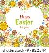 Easter card in heart shape - stock vector