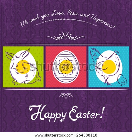 Easter card  painted with rabbit, egg and hen. Purple  background and inscription with text Happy Easter. Decorative composition suitable for invitations, greeting  cards, flyers, banners. - stock vector