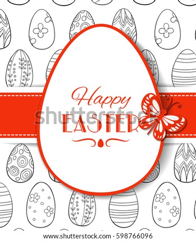 Easter Card Template Design Paper Label Stock Vector