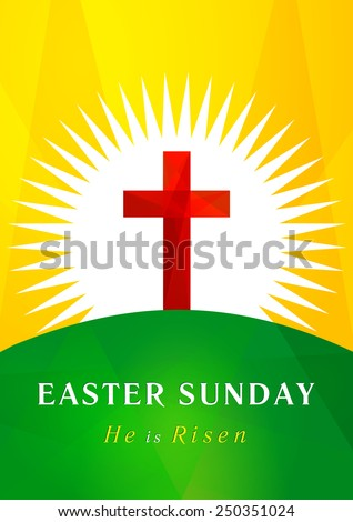 Easter card template in the form of the cross of Calvary against the rising sun. Easter Sunday calvary card. - stock vector