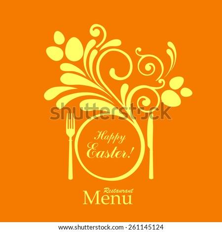 Easter card. Vintage restaurant menu. Design elements. Vector illustration  - stock vector