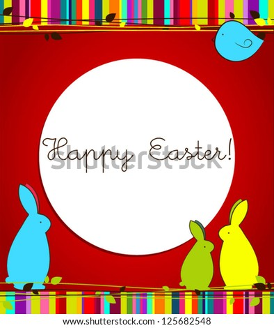 Easter card with bunnies and birds Vector spring floral background Easter background - stock vector
