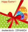 Easter card with color eggs and red ribbon - stock vector