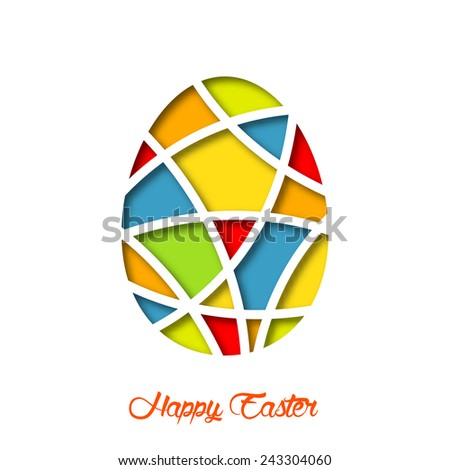 Easter card with colorful decorated egg. Isolated cut paper illustration, vector background. - stock vector