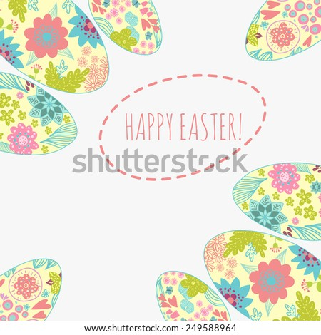 Easter card with doodle ornament eggs set. Copy space. Place for text - stock vector