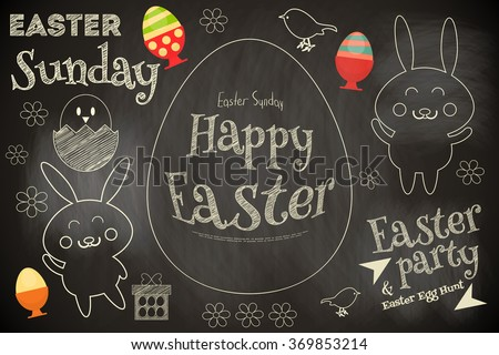 Easter Card with Easter Bunny. Chalkboard Design. Vector Illustration. - stock vector
