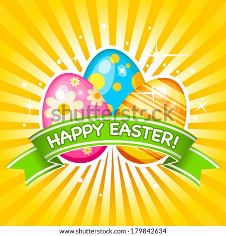 Easter card with Easter eggs - stock vector