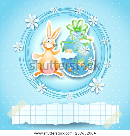 Easter card with egg, bunny and copy space. Vector eps 10 - stock vector