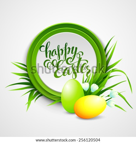 Easter card with eggs and flowers. Vector illustration EPS10 - stock vector