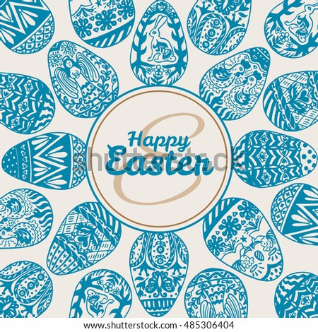 Easter card with eggs on vintage background. Vector illustration of Eggs ornamental card on beige background.