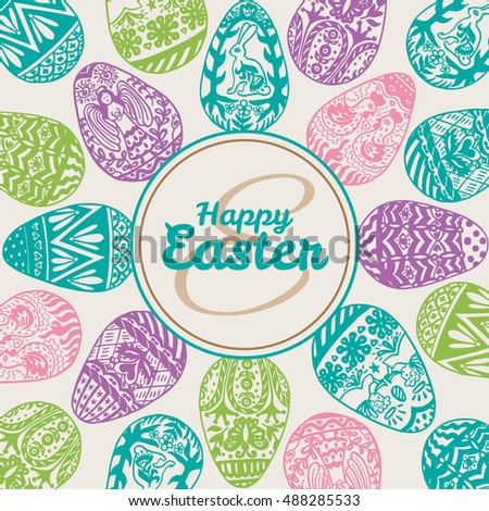 Easter card with eggs on vintage background. Vector illustration of Eggs ornamental card on beige backgeound.