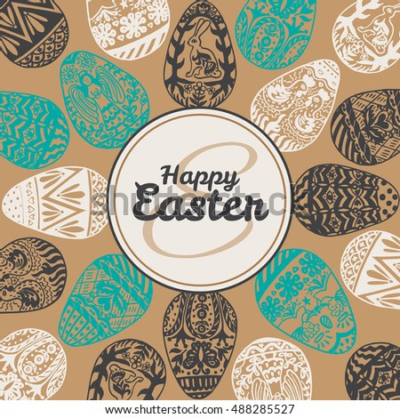 Easter card with eggs on vintage background. Vector illustration of Eggs ornamental card on brown backgeound.
