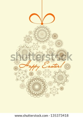 Easter card with ornamental egg and greetings - stock vector
