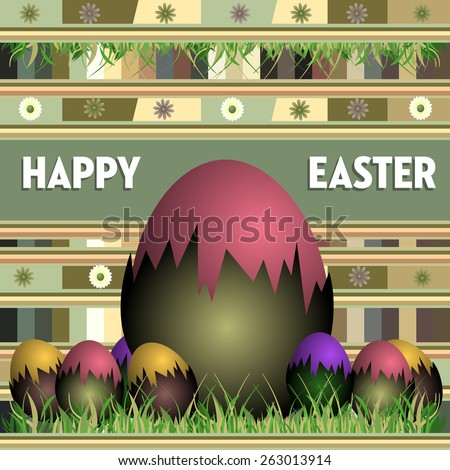 Easter card with painted eggs, grass and decorative elements - stock vector