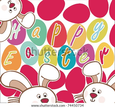 Easter Card with Rabbits and Eggs