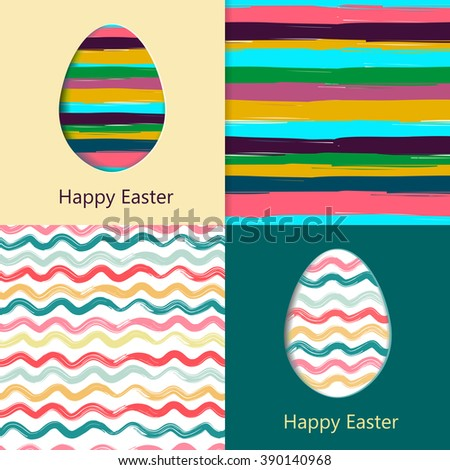 Easter cards, easter eggs. Colorful seamless patterns included in file. Vector illustration in eps10 format. - stock vector