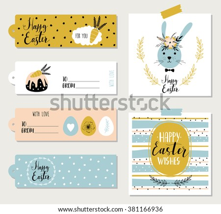Easter Cards Gift Tags Stickers Labels Stock Vector