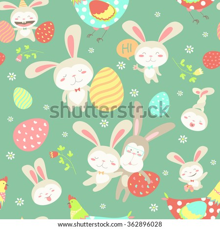 Easter cartoon seamless pattern - stock vector