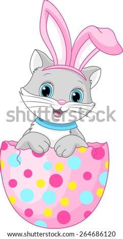 Easter cat  - stock vector