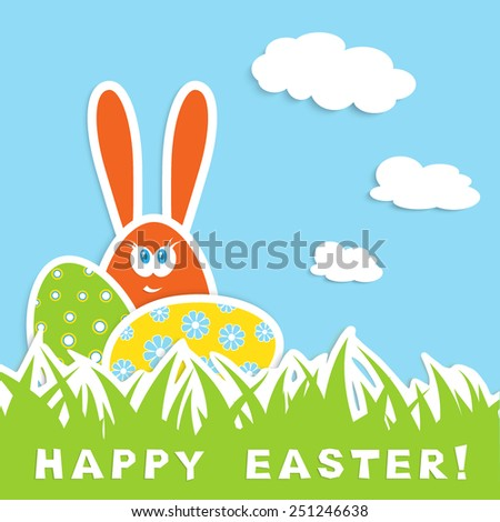easter celebration card with colorful eggs and bunny  in green grass on blue sky with white cloud background, vector illustration - stock vector