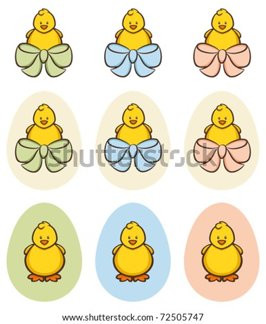 Easter chick eggs; for more easter illustrations please visit my portfolio - stock vector