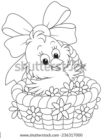 Easter Chick in a basket with flowers - stock vector