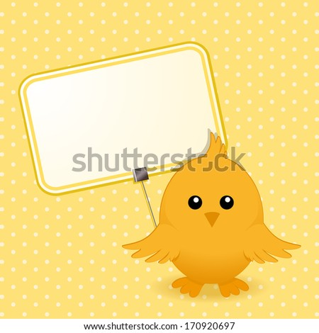 Easter Chick with Sign on a Yellow Polka Dot Background