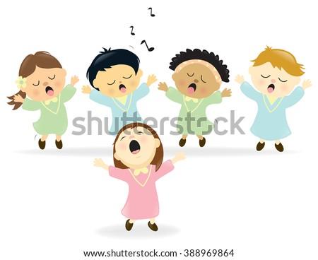 Easter Choir singing - stock vector