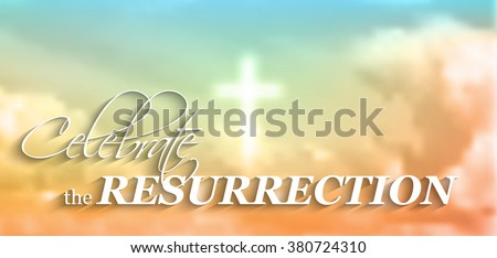 easter christian motive, with text Celebrate the resurrection, white cross and clouds, vector illustration, eps 10 with transparency and gradient mesh - stock vector