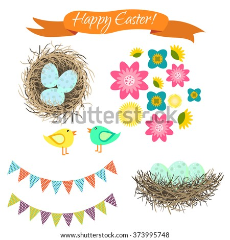 Easter clipart set. Blue eggs in nest, birds and flowers. Happy Easter holiday spring vector objects for cards and scrapbook. - stock vector