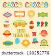 Easter collection:  set of labels, emblems, ribbons  and other elements. Vector illustration. - stock vector