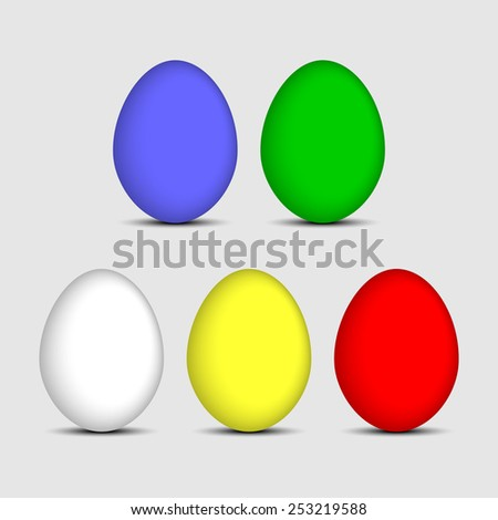 easter colored eggs in several colors on a bright background - stock vector
