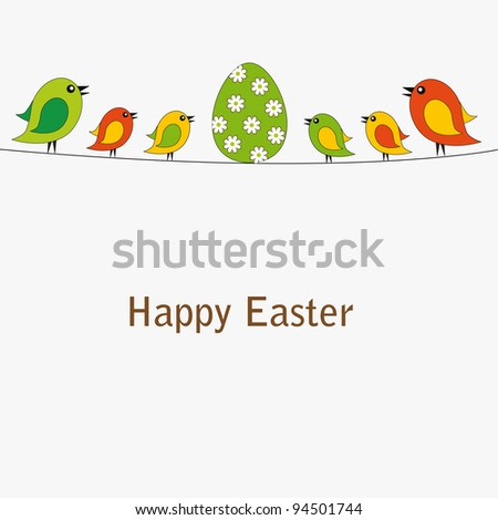 Easter colorful card with birds and egg - stock vector
