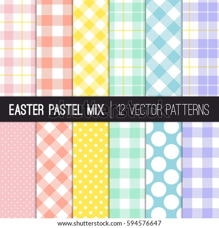 Easter Colors Polka Dots, Gingham and Tartan Plaid Vector Patterns. Pastel  Shades of Pink