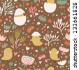 Easter concept seamless pattern. Cute small chickens in flowers. Seamless pattern can be used for wallpaper, pattern fills, web page backgrounds, surface textures. - stock vector